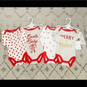 NWT set of 4 Christmas baby girl onesies